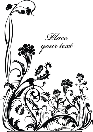 sorb: Black and white vector holiday background with wild ash - ready to place your art or text