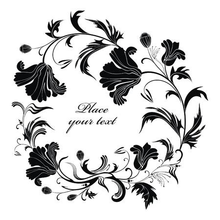 Vector Fondo blanco y negro de fiesta con flores de amapola - listo para poner su arte o texto