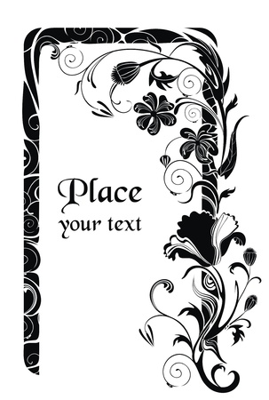 Black and white vector holiday background with poppy flowers - ready to place your art or   text Vector