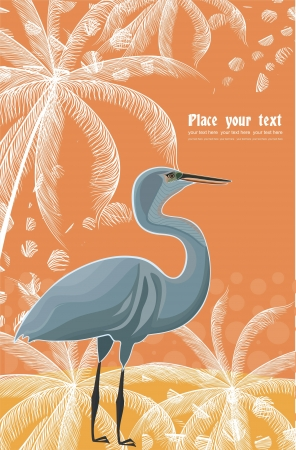wader: background with heron and plant pattern