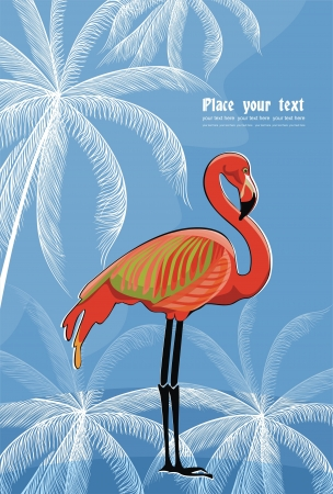 vector background with flamingo Vector