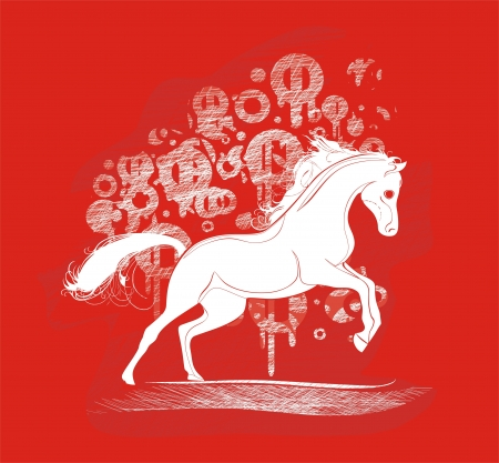 background with running horse Stock Vector - 17033470