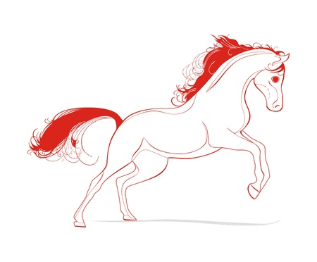 background with running horse Stock Vector - 17033468