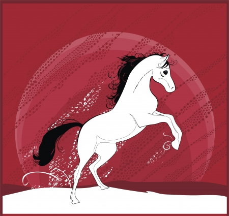 background with running horse Stock Vector - 17082123