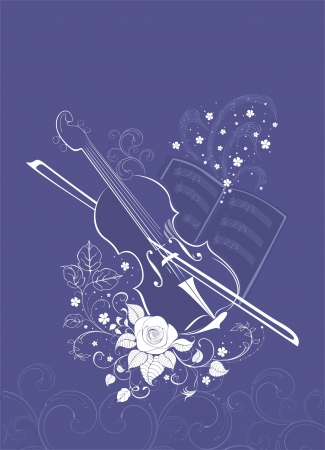 background with viola, roses and notebook Vector