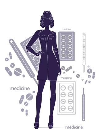 Nurse -  drawing Stock Vector - 18535090