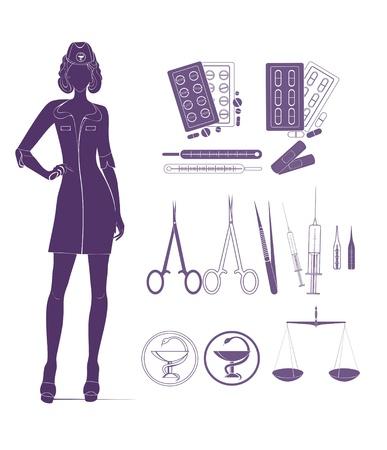 medical headwear: Nurse and medical tools