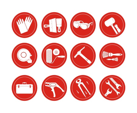 in the reconstruction: reconstruction vector icons Illustration