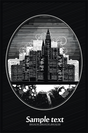 city vignette with ink splashes Vector