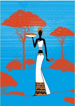 ethnic dress: Donna africana in abito etnico con piatto di frutta