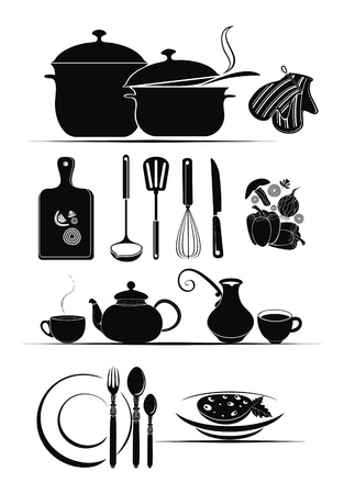 kitchen utensils and food ingredients - vector design set Vector