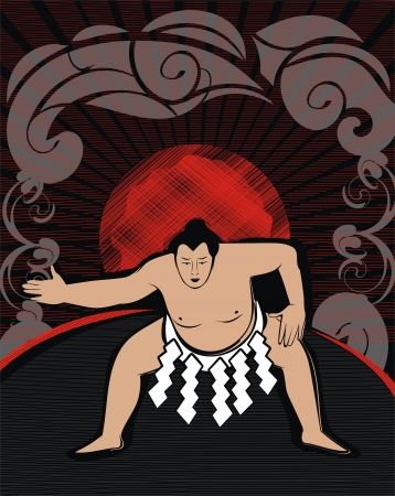 sumo wrestler - drawing Иллюстрация