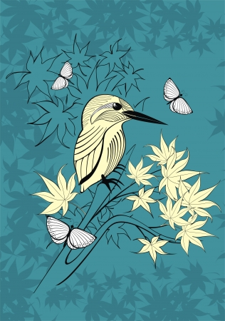 background with bird, butterflies and autumn leaves Vector
