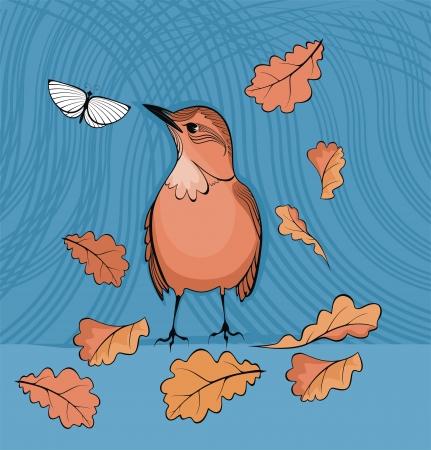 fallen: bird, fallen leaves and butterfly -vector drawing