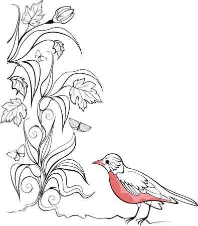nostalgy: elegant  background with bird and plants ready to place your text