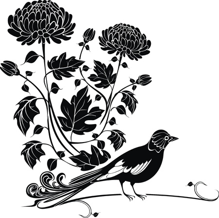 flowerhead: Vector background with chrysanthemums and bird easy to modify
