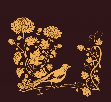 golden daisy: Vector background with chrysanthemums and bird easy to modify