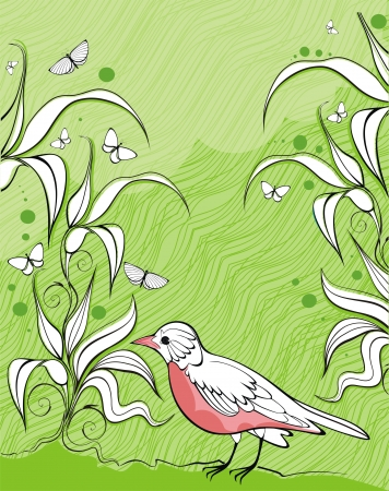 nostalgy: elegant  background with bird, butterflies and plants ready to place your text