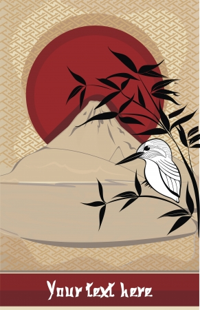 black giant mountain: vector background with bamboo, little bird and rising sun
