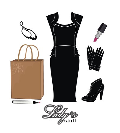 shoping bag: fashion stuff - dress, necklace, gloves, shoes and shopping bag - vector drawing