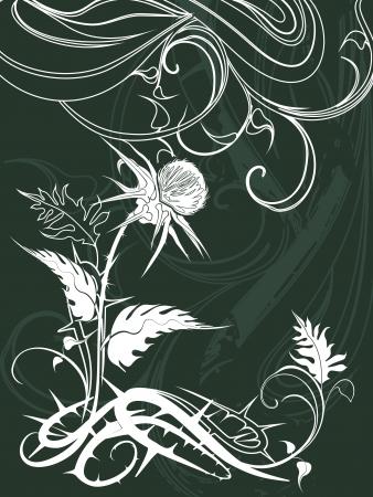 sistema operativo: vector de fondo decorado con plantas de cardo en el estilo grunge
