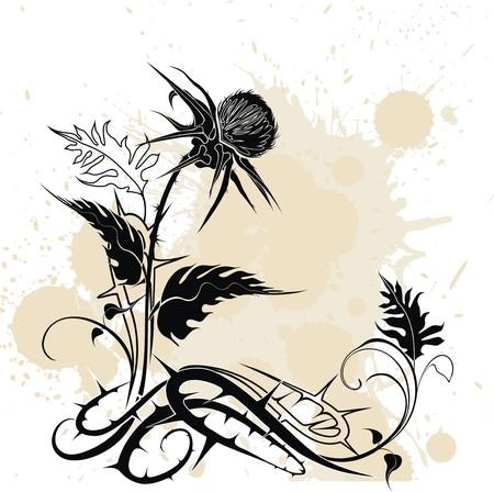 vecteur de fond décoré de plant de chardon dans le style grunge