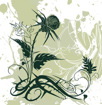 vector background decorated with thistle plant in grunge style Иллюстрация