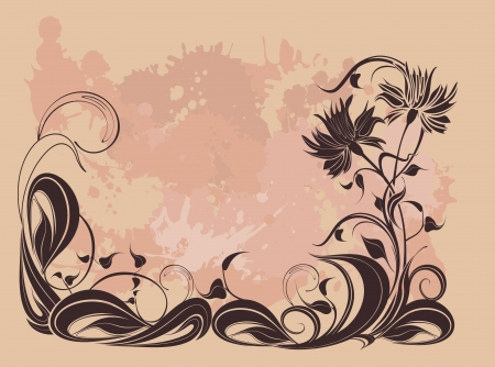 flowerhead: Vector background with flowers in grunge style Illustration
