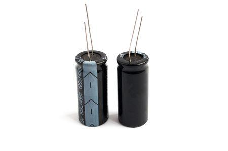 capacitors: black capacitors against a white background