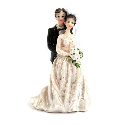 figurines: wedding cake figurines on a white background Stock Photo