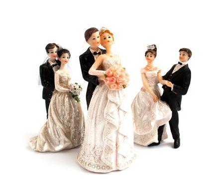 wedding cake figurines on a white background Stock Photo