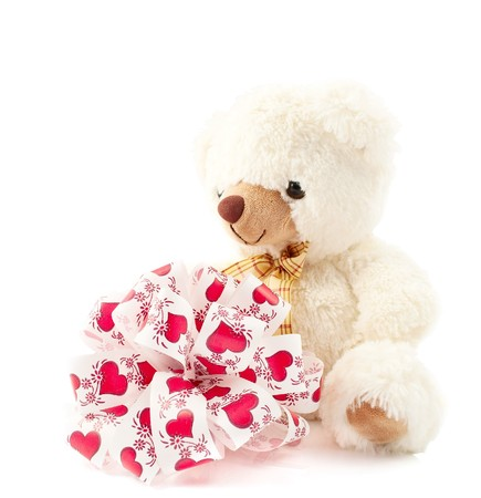 soft toy teddy bear on white background Stock Photo - 8121576
