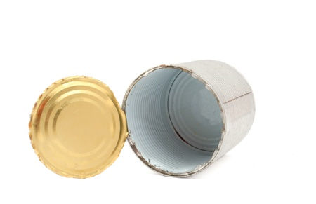 empty tin can on white background