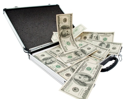 Silver case with dollars on a white background Stock Photo - 8509362