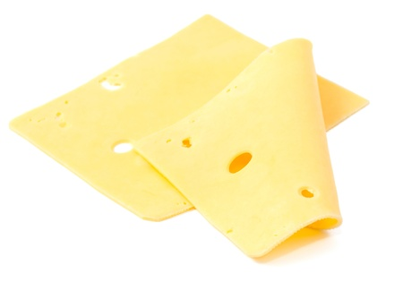 swiss cheese: sliced cheese on a white background