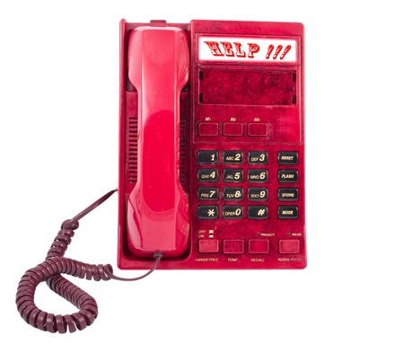 touchtone: the phone is red on a white background