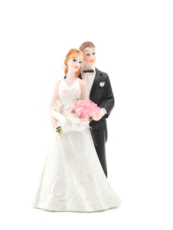 figurines: bride and groom on white background Stock Photo
