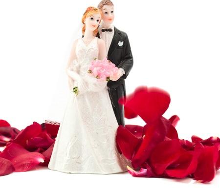 sposa e lo sposo con petali di rosa su sfondo bianco Archivio Fotografico