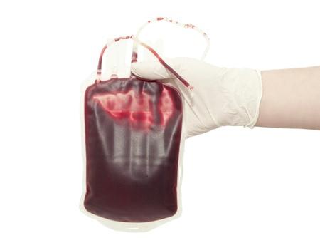 Blood bag on white background photo