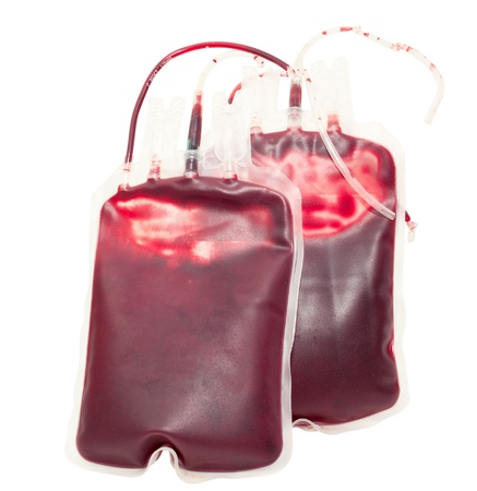 donation: Blood bag on white background