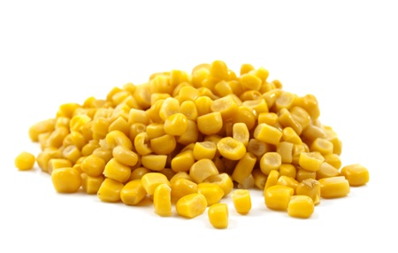 corn kernel: canned corn on a white background