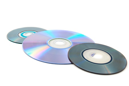 gigabytes: computer disks on a white background