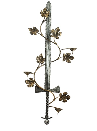 medieval sword: toy sword with a vine on a white background