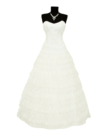 wedding dress on a mannequin on a white background Stock Photo - 9049239