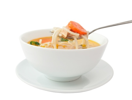 noodle bowl: Chicken soup isolated on white Stock Photo
