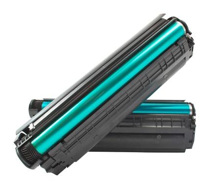 Cartridge for laser printer on white background Stock Photo