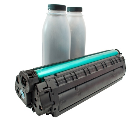 cartridge and toner on a white background