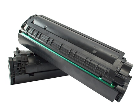 Cartridge for laser printer on white background photo