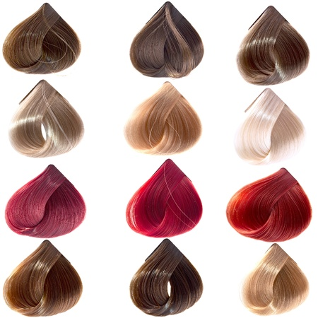 hair samples of different colors Stock Photo