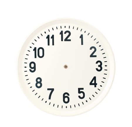 beat the clock: clock on a white background Stock Photo